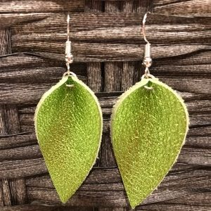 Metallic lime green leather earrings